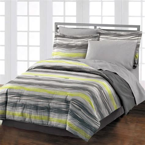 style lounge motion comforter set gray lime bedroom