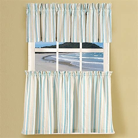 blue tier curtains natural shells stripe window curtain tier pairs and