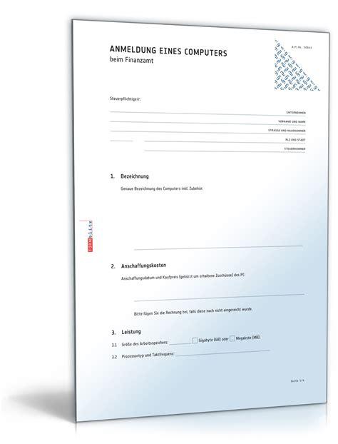 Musterbriefe Finanzamt anmeldung eines computers beim finanzamt vorlage zum