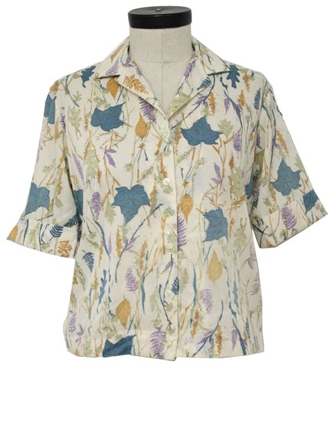 Leaf Dusty Blouse 1960 s shirt gaylore 60s gaylore womens white teal light moss and dusty purple