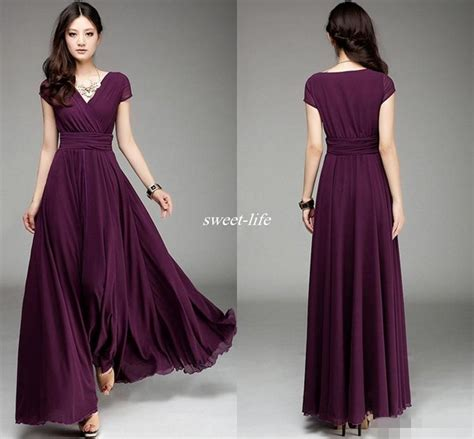 plum colored flower dresses plum v neck sleeve chiffon bridesmaid dresses