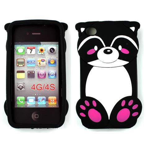 Silicon 4d Softcase 3d Panda Fashion Iphone Samsung Oppo Vivo wholesale iphone 4 4s 3d raccoon black