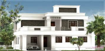 home design exterior flat roof villa exterior in 2400 sq home kerala plans