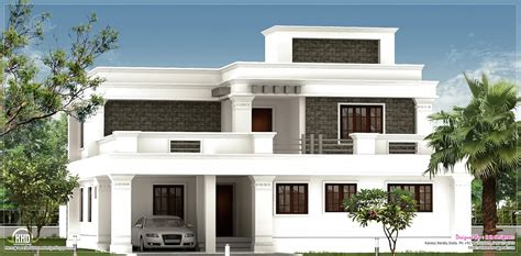 flat roof modern kerala villa elevation