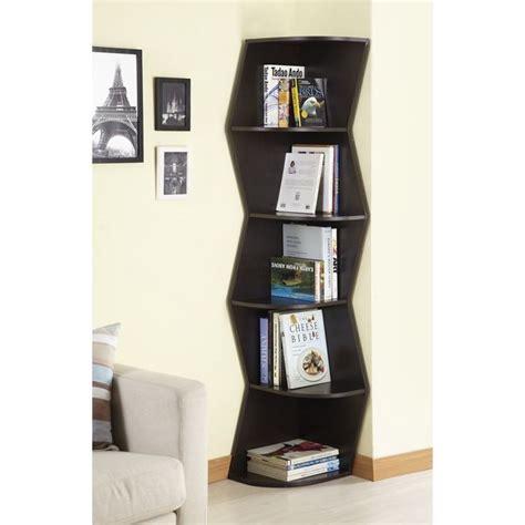 modern corner bookcase furniture of america waverly modern walnut 6 tier corner
