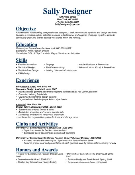 sle fashion resume fashion stylist resume objective exles resume cover