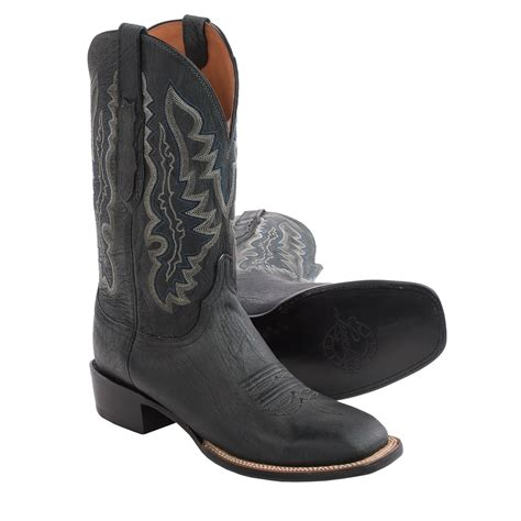 lucchese square toe boots mens lucchese marsh goat leather cowboy boots for