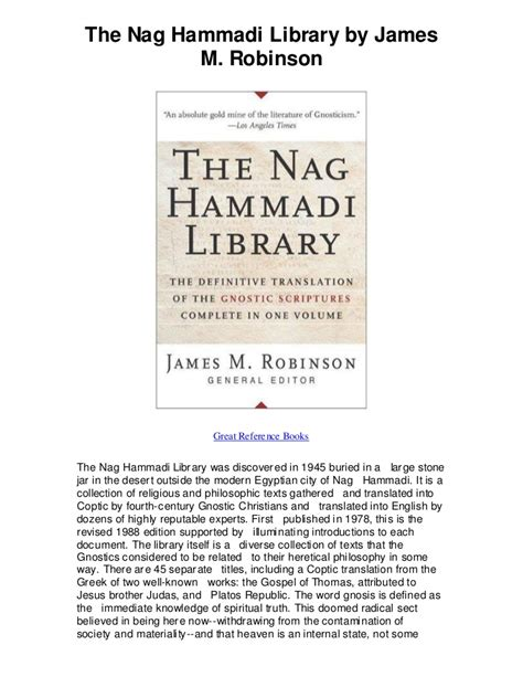 the nag hammadi library the history and legacy of the ancient gnostic texts rediscovered in the 20th century books the nag hammadi library by m robinson nag hammadi