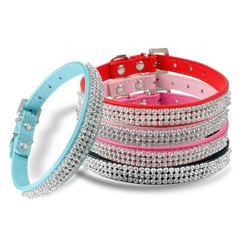 bling collars new bling collar pu leather rhinestone diamante pet puppy cat fashion necklace