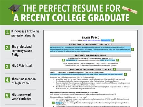 Resume Sles New Graduates Excellent Resume For Recent Grad Business Insider
