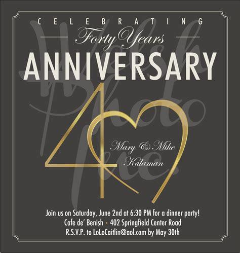 free 40th wedding anniversary invitation templates 40th anniversary invites 40th anniversary invite wording
