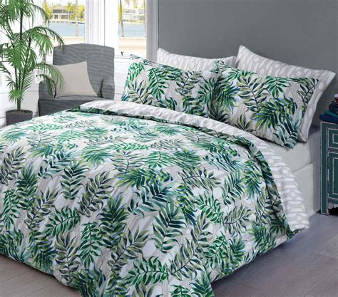 white comforter with green leaves palm leaf duvet quilt bedding set green linens range
