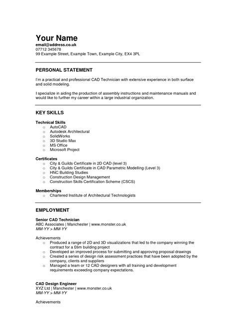Sle Resume Cad Technician Design Technician Resume Sales Technician Lewesmr