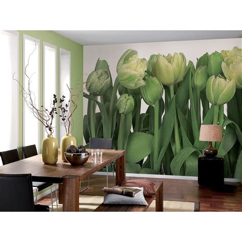 home depot wall murals komar 100 in x 145 in tulips wall mural 8 900 the home depot