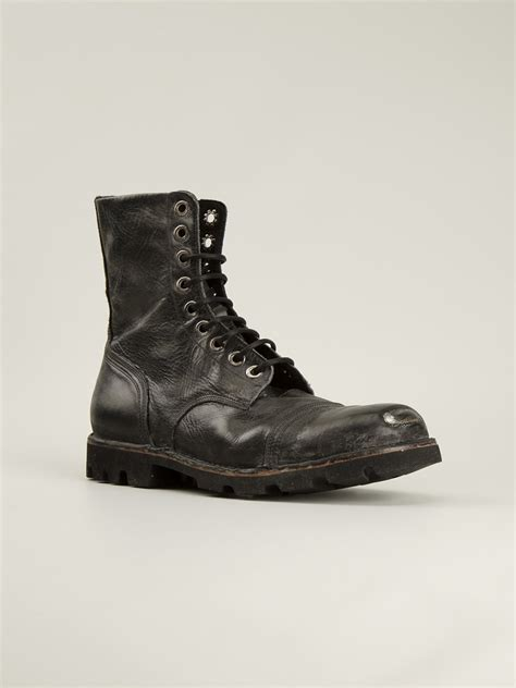 diesel boot diesel steel pro boots in black for lyst