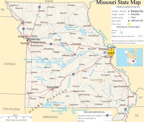 Missouri State Search Missouri State Map A Large Detailed Map Of Missouri State Usa