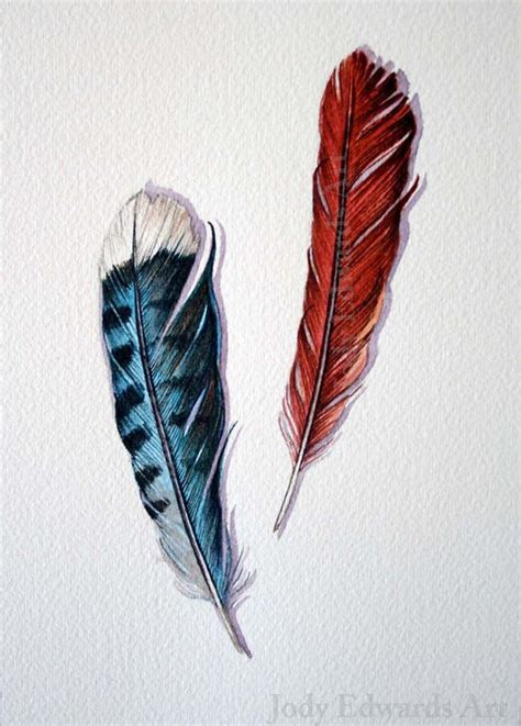 cardinal feather tattoo blue feather cardinal feather original watercolor by