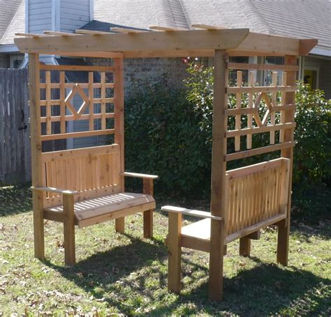 arbor with bench brand new large cedar garden arbor with double bench free