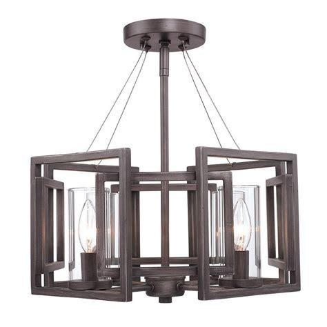 geometric flush mount light reddington collection 4 light gunmetal bronze incandescent