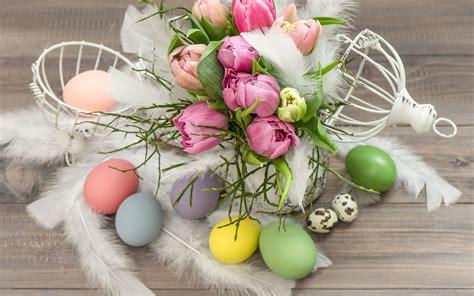 blumen ostern eggs tulips flowers easter wallpaper 2560x1600 335925