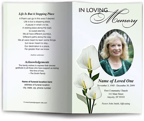 funeral programs templates funeral order of service programs with floral theme