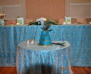 Rosette Chair Covers Peacock Satin Tablecloth With Champagne Swirl Right