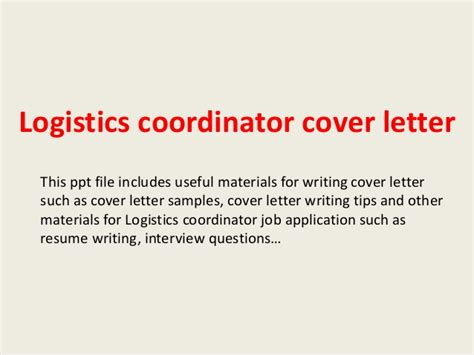 Logistics Controller Cover Letter by Logistics Coordinator Cover Letter