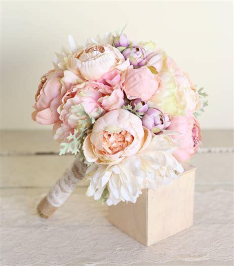 S Garden Wedding Silk Flowers Silk Bridal Bouquet Pink Peonies Dusty Miller By Braggingbags