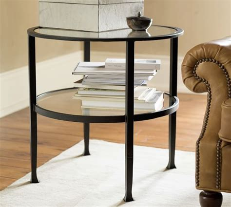 bronze table for living room tanner round side table bronze finish pottery barn