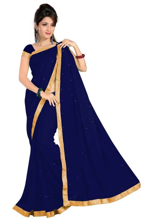 Best Fabric For Sheets by Buy Navy Blue Plain Chiffon Saree With Blouse Online