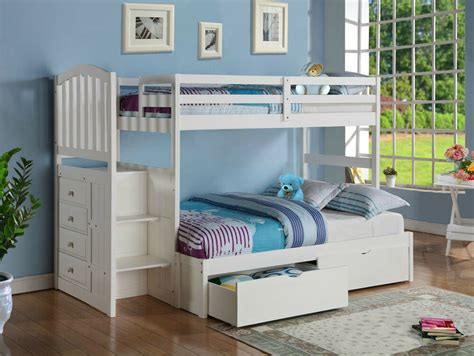 Stairs For Bunk Bed by Wood Bunk Bed With Reversible Stairs Built In 4 Drawer
