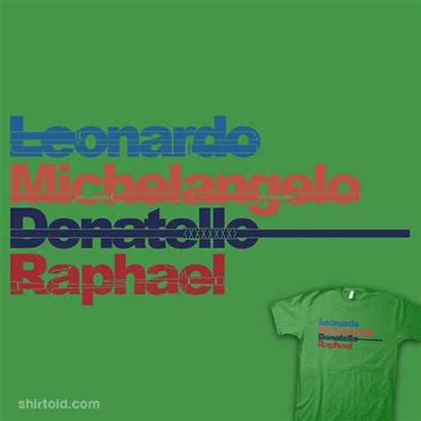 tmnt names and colors leonardo michelangelo donatello raphael shirtoid