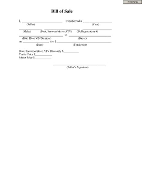 bill of sale template for atv atv bill of sale template forms fillable printable