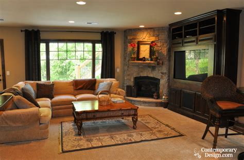 family room idea living room with fireplace and tv