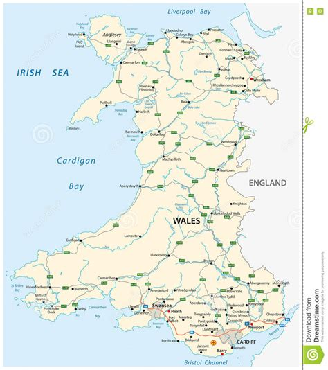 printable road map of wales uk road map of the british territory of wales stock