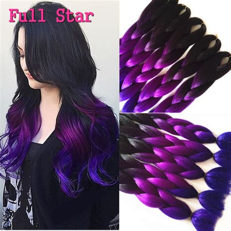 purple ombre braiding hair 1 10pcs 24 quot 100g crochet braids hair full star black