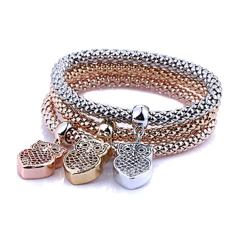 Rhinestone Bangle 3pc fashion bracelet gold silver pinkgold rhinestone