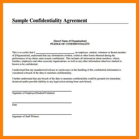Nda Release Letter 8 confidentiality agreement sle commerce invoice