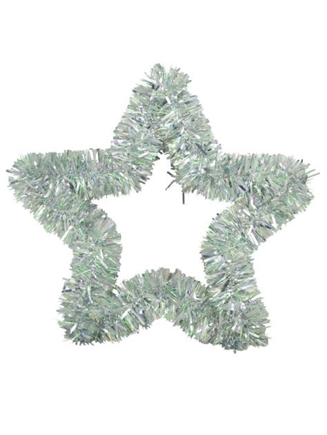 metallic silver hanging decoration tinsel star 48cm