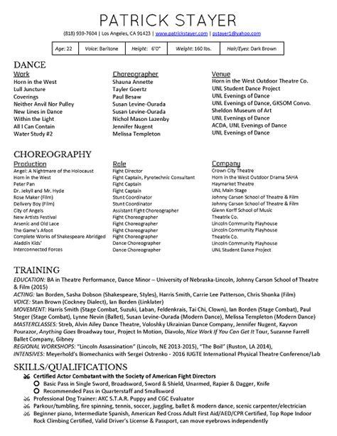 choreographer resume resume ideas