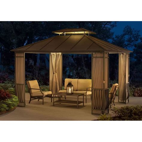 permanent gazebo sunjoy orleans 10 ft w x 12 ft d metal permanent gazebo