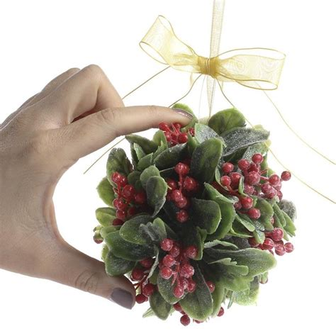frosted artificial mistletoe  holly kissing ball