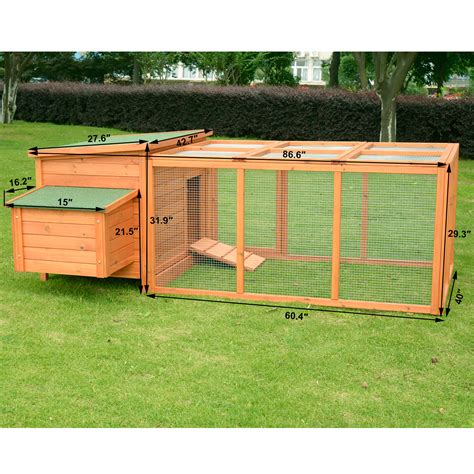 Backyard Chickens Nest Box Size Pawhut 86 6 Quot Wood Poultry Chicken Coop Hen House Hutch