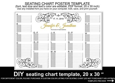Wedding Seating Chart Poster Template Word Mini Bridal Wedding Seating Chart Poster Template Word