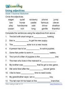 grammar worksheet grade 3 adjectives sentences 1 pdf