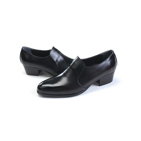 mens toe black cow leather loafers high heels shoes