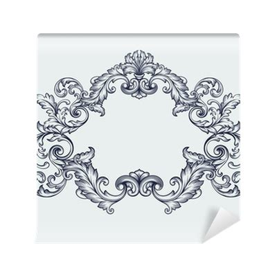 scroll pattern png vector vintage baroque frame scroll pattern wall mural
