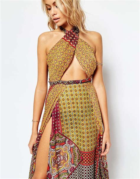 A Printed Neck Dress From Asos by Lyst Asos Mixed Tile Print Cross Neck Split Maxi