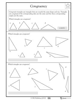 Congruence Worksheets by 3rd Grade 4th Grade Math Worksheets Congruent Triangles