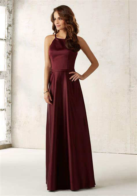 Dress Satin satin bridesmaids dress with matching satin waistband